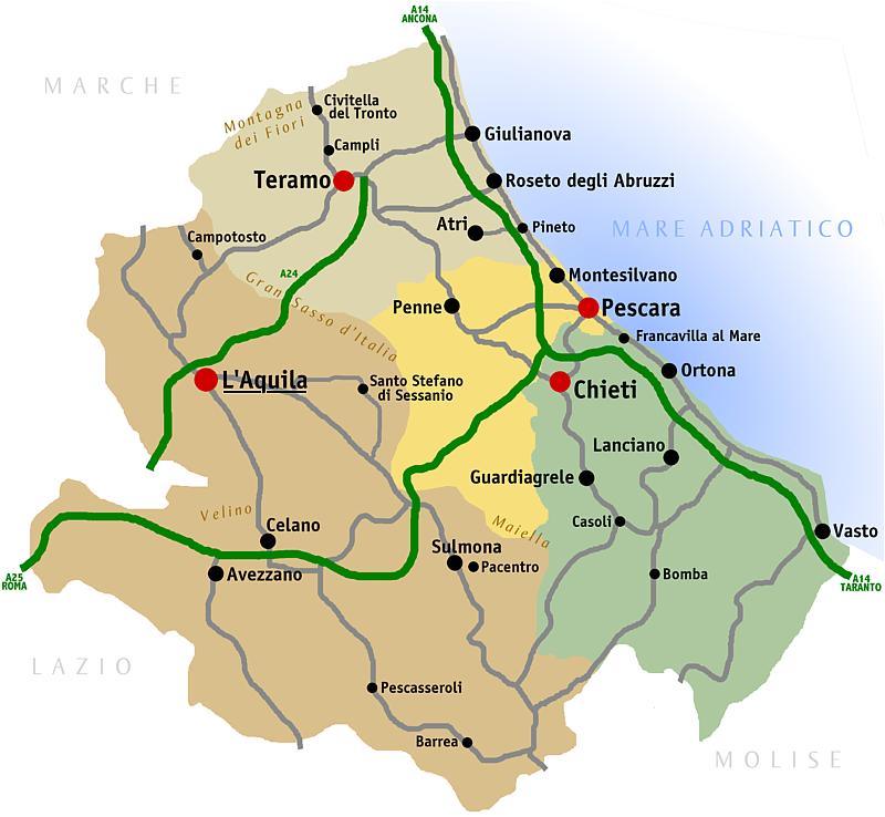 Cartina Dettagliata Abruzzo.La Road Map Verso Abruzzo Zona Gialla